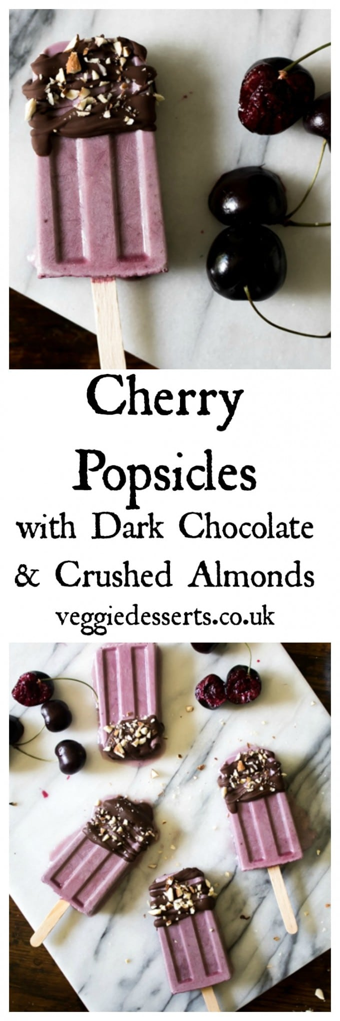 These cherry popsicles are creamy and rich with a lovely flavour from fresh cherries. The cherry flavour mixes well with the coconut, milk and almond. When the dark chocolate drizzle hits the frozen ice lollies, it hardens instantly into a decadent shell. Perfect sprinkled with crushed almonds. #popsicles #cherry #cherryrecipe #icelollies