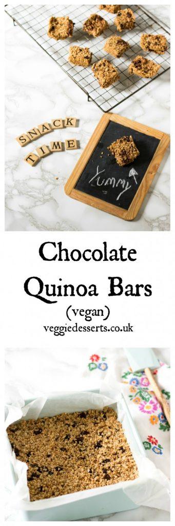 Chocolate Quinoa Bars with Oats and Raisins | Vegan | Veggie Desserts Blog