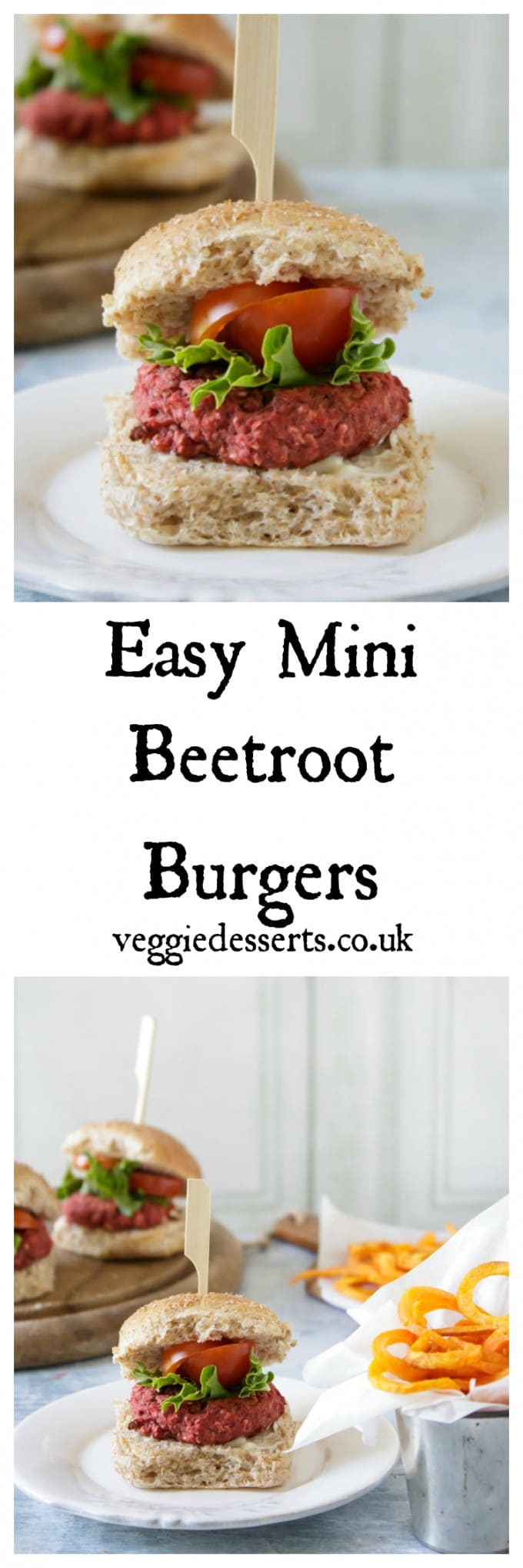Burgers, with text: Easy Mini Beetroot Burgers.