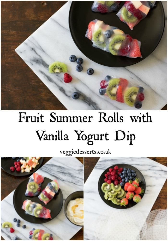 Fruit Summer Rolls are a fun way to eat fruit. They're light, easy and delicious. The rice paper wrapper holds it all together - perfect for dipping into vanilla yogurt dip. #summerrolls #fruitsummerrolls #healthydessert #lowcalorie #healthyrecipe #ricepaperrecipes