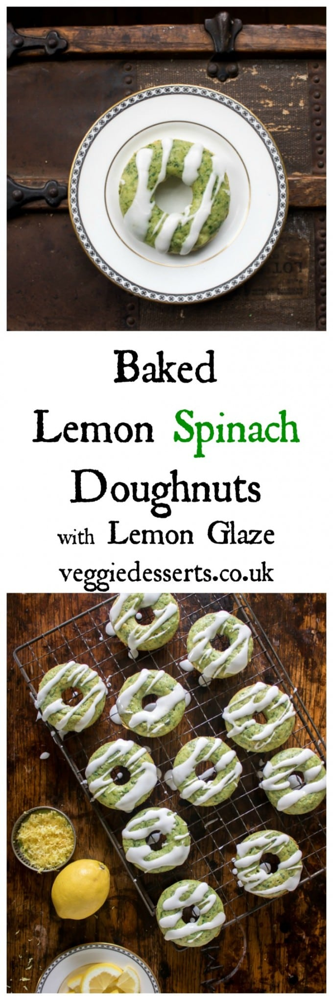 Baked Lemon Spinach Doughnuts with Lemon Glaze. These baked lemon spinach doughnuts are bright green, but taste just like lemon. The flavour of the spinach fades, leaving that amazing colour and some extra goodness in the doughnuts. #vegetabledessert #veggiedesserts #doughnuts #bakeddoughnuts #greencake #spinachdessert