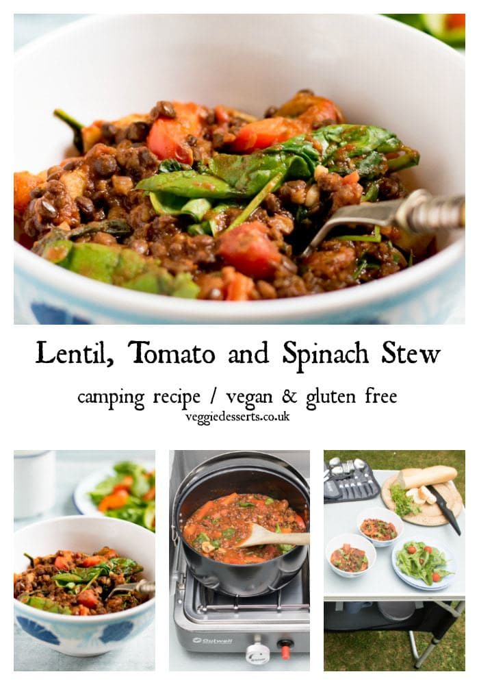 This one pot lentil tomato and spinach stew is one of my favourite camping recipes. You can of course make it at home on the stove, but I love how easy it is when out camping. It's vegan and gluten-free. Ready in just 20 minutes and full of flavour and nourishing veggies. #campingrecipe #campingrecipes #veganstew #lentilstew #vegetariancampingrecipe