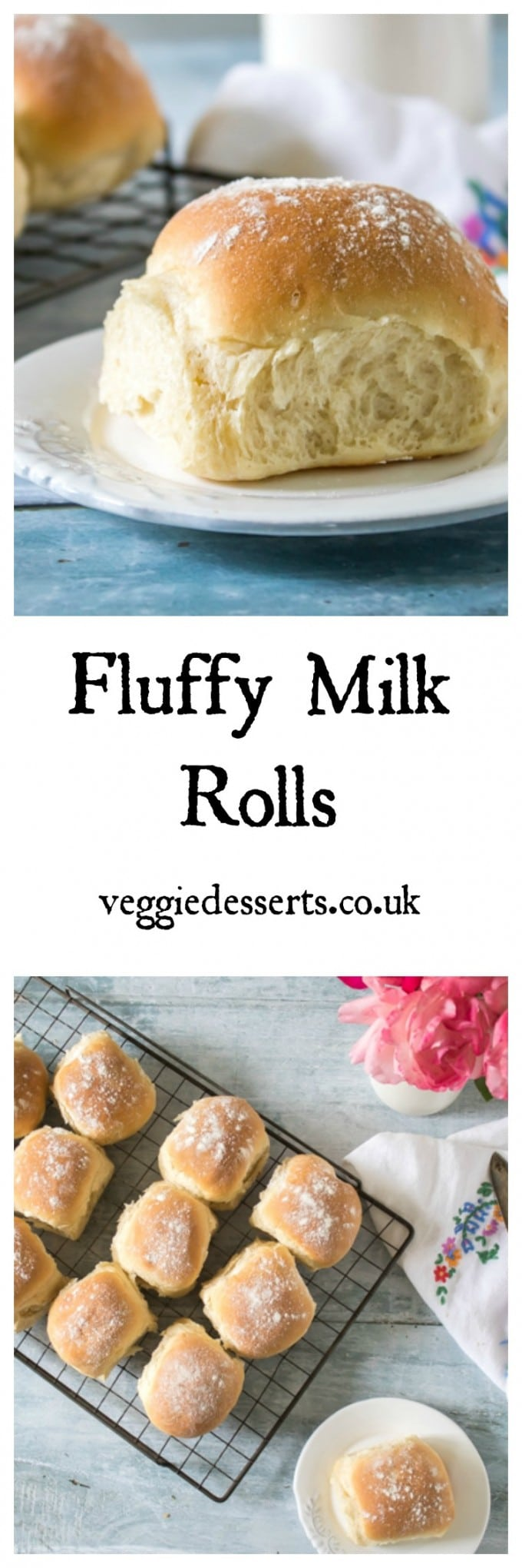 A basket of fluffy milk rolls. They're easy to make with no long kneading times. And you can knead in the bowl so less mess. #bread #milkrolls #breadrecipe #recipe #baking