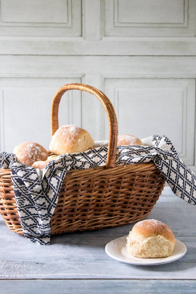 A basket of fluffy milk rolls. They're easy to make with no long kneading times. And you can knead in the bowl so less mess.