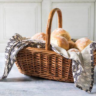 A basket of bread rolls.