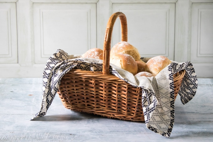 A basket of fluffy milk rolls. They don't need much kneading for this recipe and they're full of flavour.