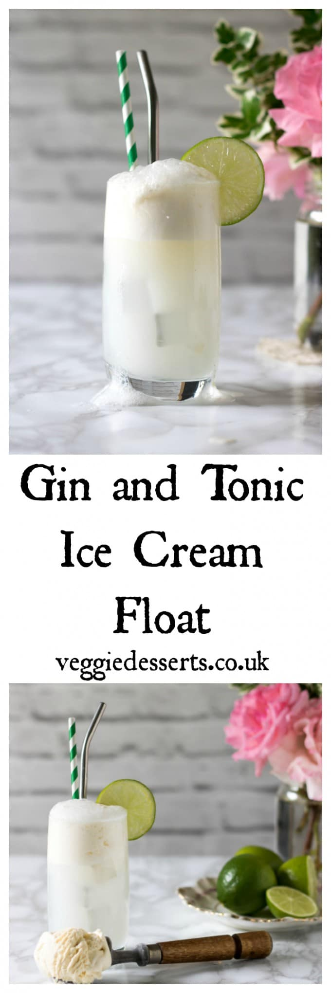 This gin and tonic ice cream float is a decadent grown up treat. It's frothy, creamy and full of botanical flavours. A fun boozy dessert. #ginandtonic #boozy #cocktail