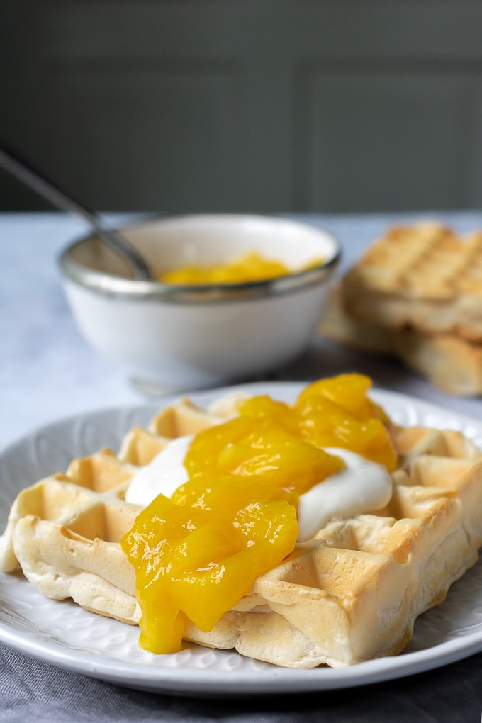 This zesty Mango Compote is livened up with lemon and lime juice. Delicious on waffles, pancakes, yogurt and more.