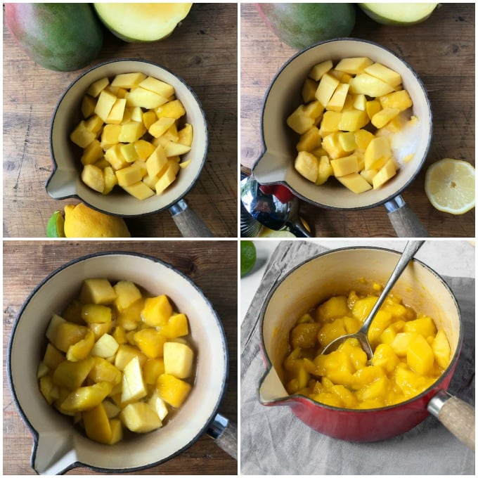 Step by step images for making mango compote