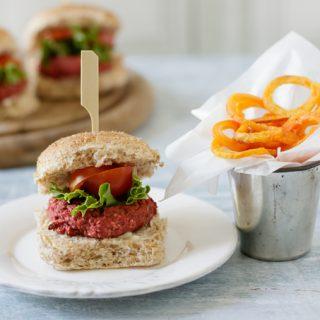 Mini burger on a plate.