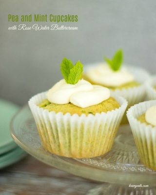 Pea and Mint Cupcakes by Kavey Eats From Veggie Desserts and Cakes Cookbook by Kate Hackworthy