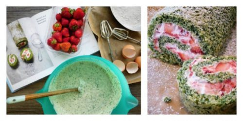 Stawberry Spinach Swiss Roll by Foodie Quine From Veggie Desserts and Cakes by Kate Hackworthy