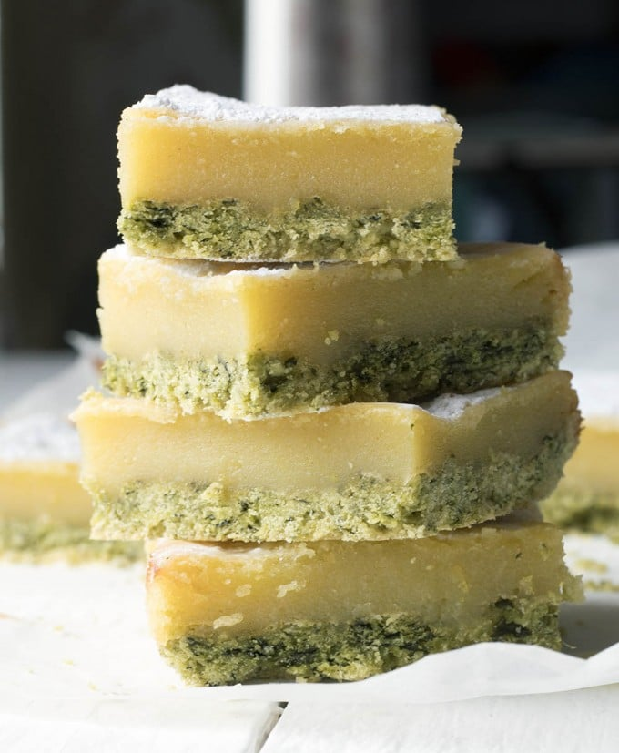 A stack of lemon bars.