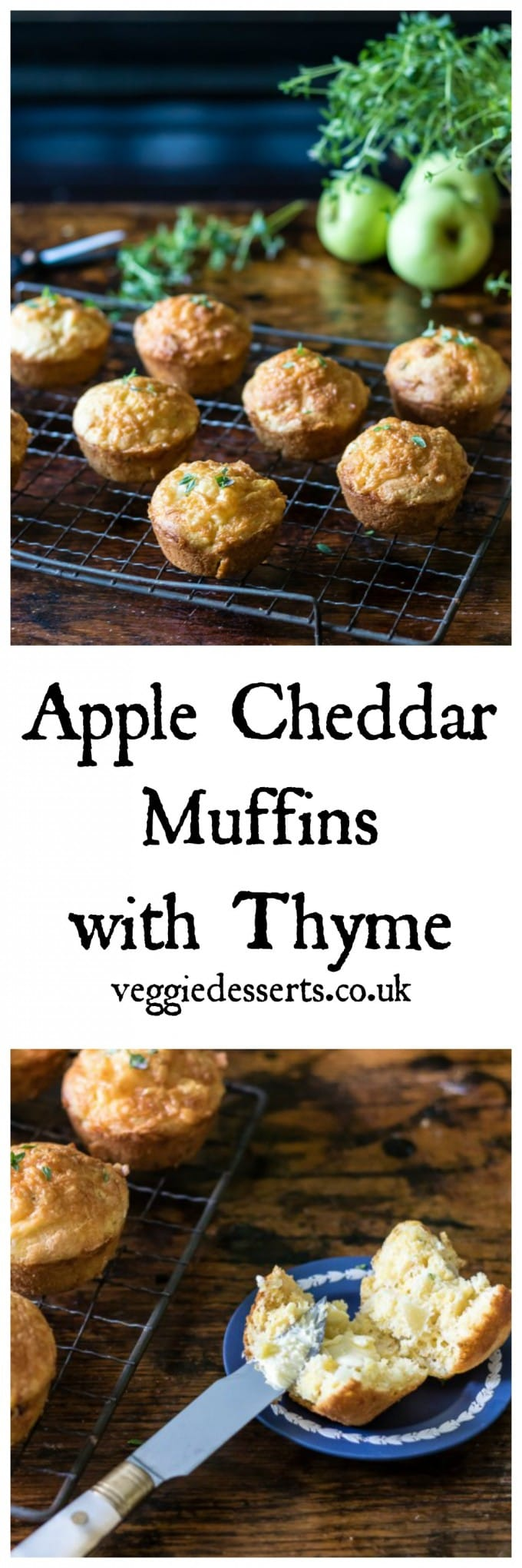 Apple Cheddar Muffins with Thyme - -These muffins are really quick and easy to make. Just mix a few ingredients together, pour into the muffin tray and bake. Voila - 20 minutes later you have lovely fresh savoury muffins! #savourymuffins #muffins #cheddarmuffins #applecheddar #cheesemuffins