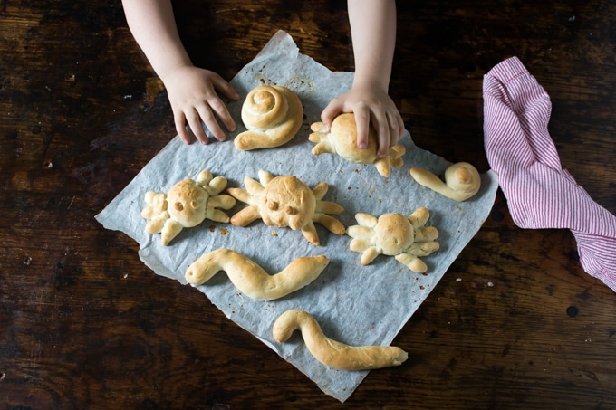 Easy Fun Bread Roll Shapes - great for parties, kids or these bug creatures for Halloween.