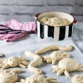Bread dough creatures! These bread bugs are a fun and easy way to get kids in the kitchen. Just roll it like playdough into fun shapes.