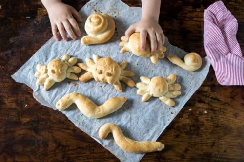 Make these fun bread shapes with the kids this halloween! They're easy, fun and you can make any shape you like. Easily vegan.