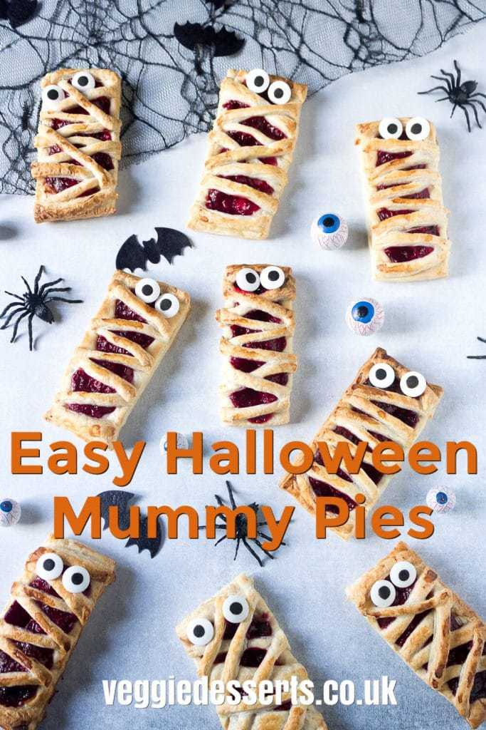 Halloween Mummy Pies text over spooky pies laid out with plastic spiders and chocolate eyes