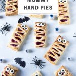 pinnable image for easy halloween mummy hand pies recipe