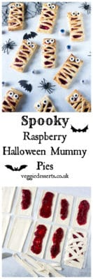 Try these easy 6-ingredient Raspberry Halloween Mummy Pies. Great fun to make with the kids, and super easy with store-bought puff pastry and frozen raspberries. Get the recipe at VeggieDesserts.co.uk #halloween #halloweenkids