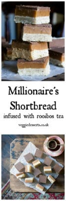 Get the recipe of Millionaire Shortbread (Caramel Squares) infused with nutty Rooibos tea. Layers of shortbread, caramel and chocolate make a rich and delicious dessert. #rooibos #millionaireshortbread #shortbread #caramel #tearecipe