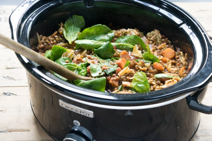 Crock Pot Lentil Vegetable Stew with Harissa (vegan, gluten-free)