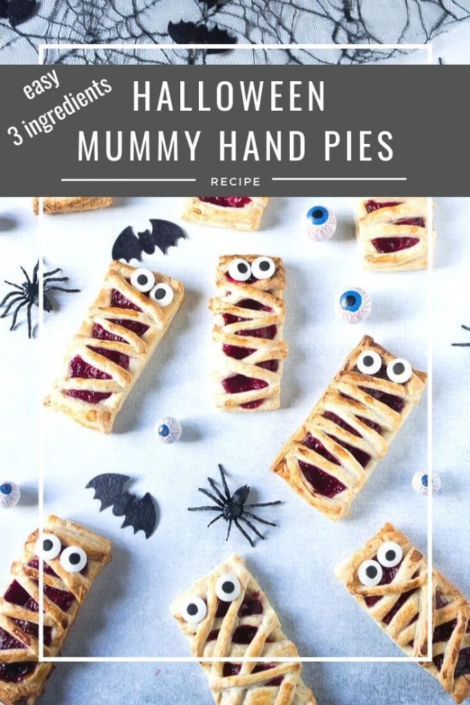 pinnable image for Halloween Mummy Pies