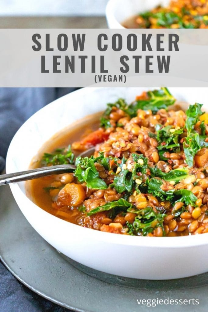 pinnable image for Slow Cooker Lentil Stew recipe
