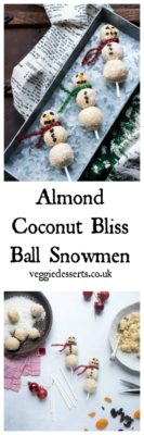 These Almond Coconut Bliss Ball Snowmen are a healthy Christmas treat for kids (and grown ups). They're quick, easy and tasty. A perfect afternoon activity or party food. #christmas #healthykids #healthychristmas