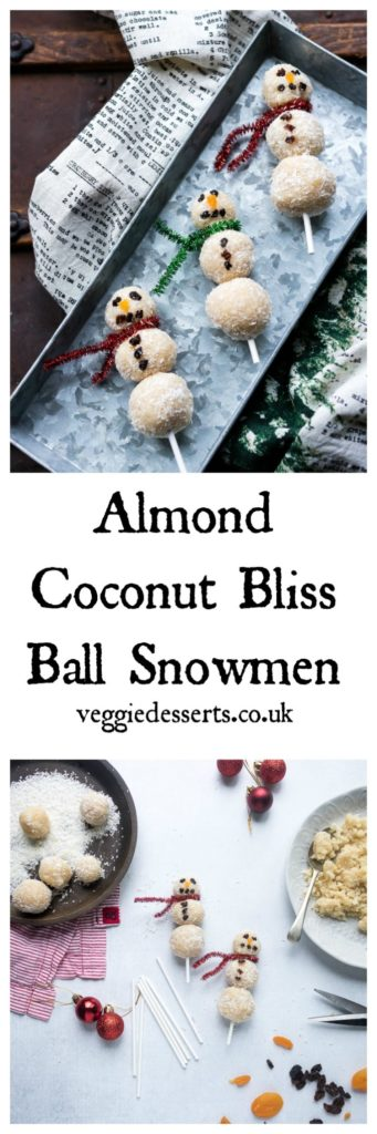 Bliss balls on sticks with text: almond coconut bliss ball snowmen.