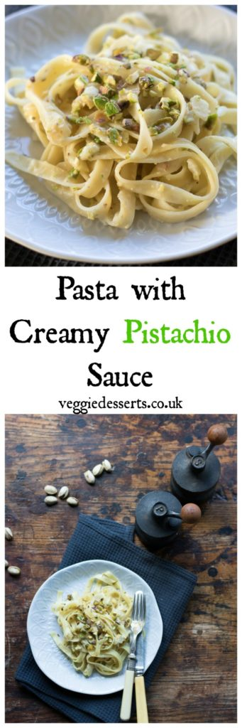 Pasta with Creamy Pistachio Sauce (easily vegan and gluten-free). Make this delicious pasta dish in only 10 minutes with just 5 ingredients! A perfect midweek meal. #pasta #5ingredients #10minutemeals