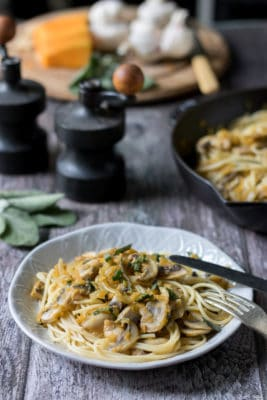 This easy spaghetti dish can be on the table in 15 minutes! Get the recipe for Mushroom Pasta with Butternut Squash and Sage. Easily vegan and use gluten free pasta if required.