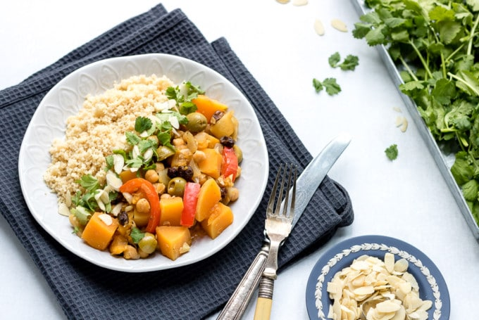 This easy vegetable tagine is vegan and quick to make. Butternut squash makes it hearty and filling and it's great with couscous.