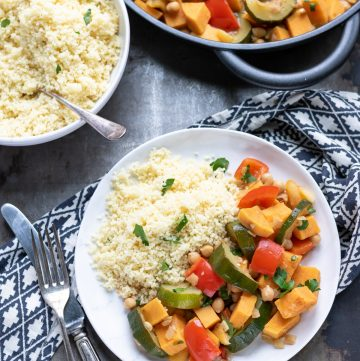 a plate of vegetable tagine with couscous