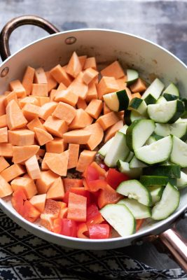 Raw vegetables in a pan
