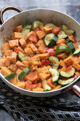 Cooked vegetables in a pan