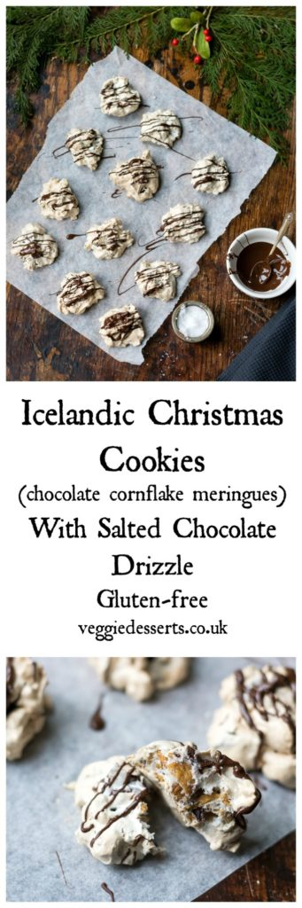 Icelandic christmas meringue cookies with salted chocolate veggie the airy and delicate meringue envelops the crunchy cornflakes and rich chunks of dark chocolate forumfinder Gallery