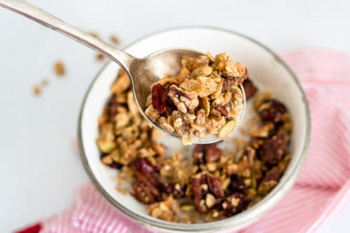 This flavourful and aromatic granola is easy to make and very versatile. We love it for breakfast, but it's also fantastic as a crumble topping, sprinkled on yogurt or, as my kids like to do, eated dry with a spoon for a snack.