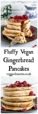 Make these easy Fluffy Vegan Pancakes. They're thick and delicious. #vegan #veganpancakes #veganchristmas #gingerbread