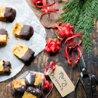 Salted chocolate dipped honeycomb recipe. This gluten-free vegan treat is easy to make and perfect as a homemade Christmas gift.