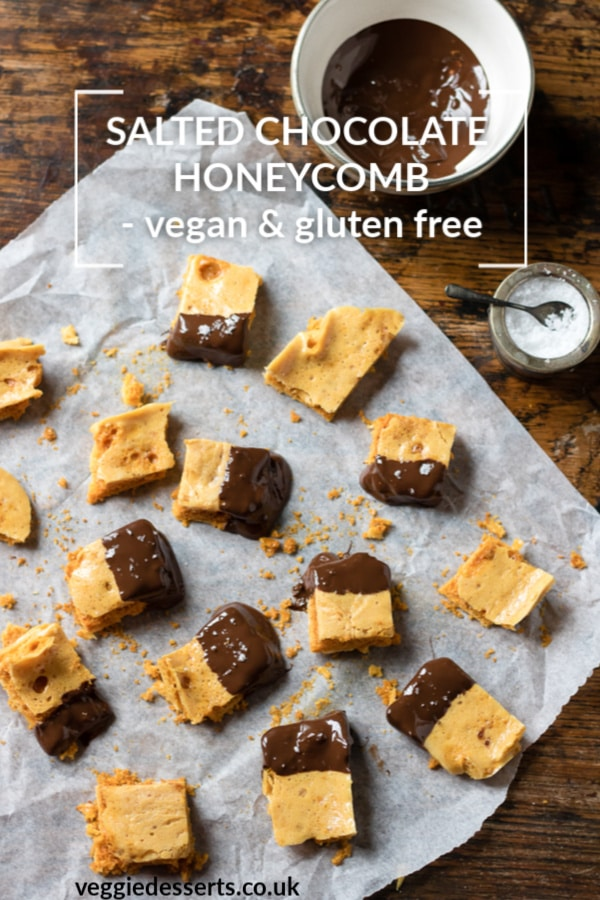 This salted chocolate honeycomb recipe is surprisingly easy to make and you only need four ingredients. It's also vegan and gluten free. It makes a fantastic homemade foodie Christmas gift. #christmas #glutenfreevegan #honeycomb #foodiegift #ediblegift