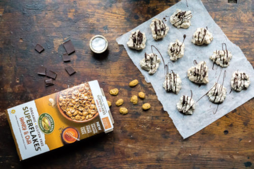 Nature's Path Superflakes are perfect in these gluten-free Icelandic Meringue cookies with chocolate.