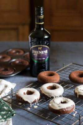 Feeney's Irish Cream is added to chocolate baked doughnuts to give them a great grown up flavour. They're then coated in Feeney's Irish Cream Liqueur glaze and topped with sprinkles.