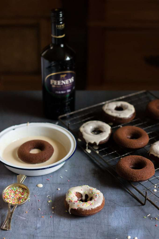 Feeney's Irish Cream Liqueur baked chocolate doughnuts with Irish cream glaze.