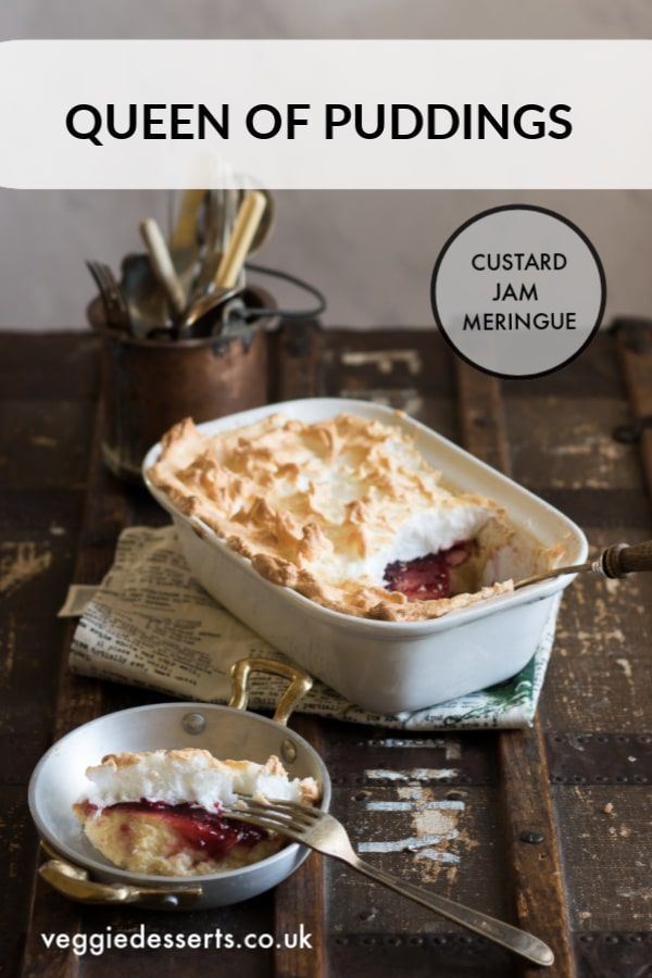 Queen of Puddings is a traditional British pudding that brings together a thick breadcrumb cake custard, raspberry jam and a fluffy crown of meringue. It's easy and delicious. #queenofpuddings #Britishpudding #queenofpuddingsrecipes