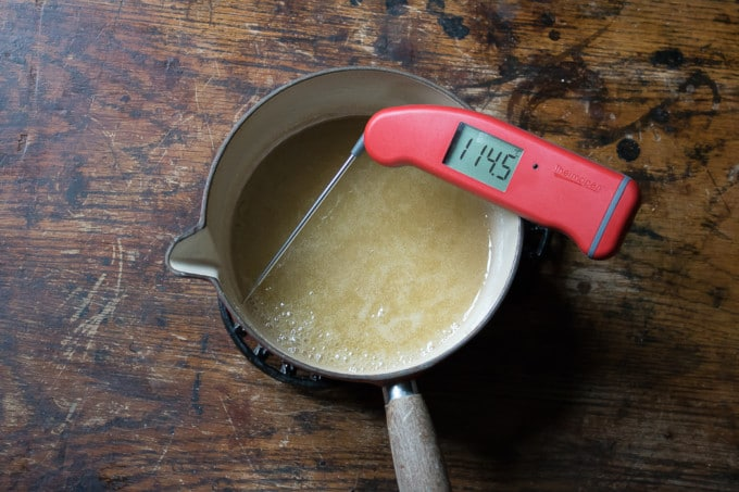 sugar in a pan with thermometer