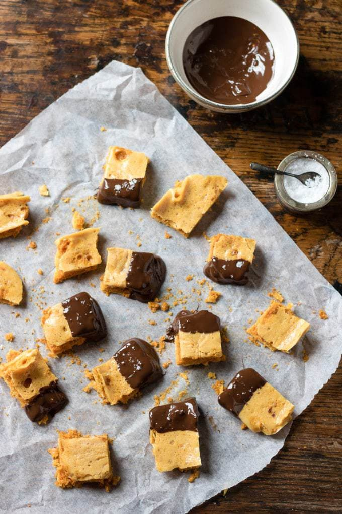Salted Chocolate Honeycomb Recipe: This simple candy is delicious and tastes like a Crunchie Bar. It's easy to make and is perfect as a DIY foodie gift.
