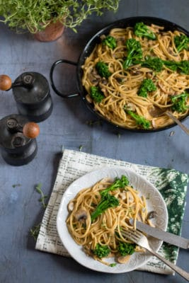 Creamy Tenderstem and Mushroom Vegan One-Pot Pasta