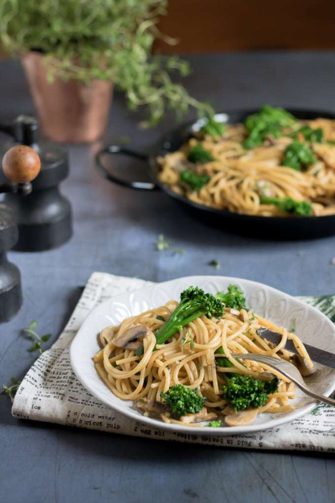 Creamy Tenderstem and Mushroom Vegan One-Pot Pasta