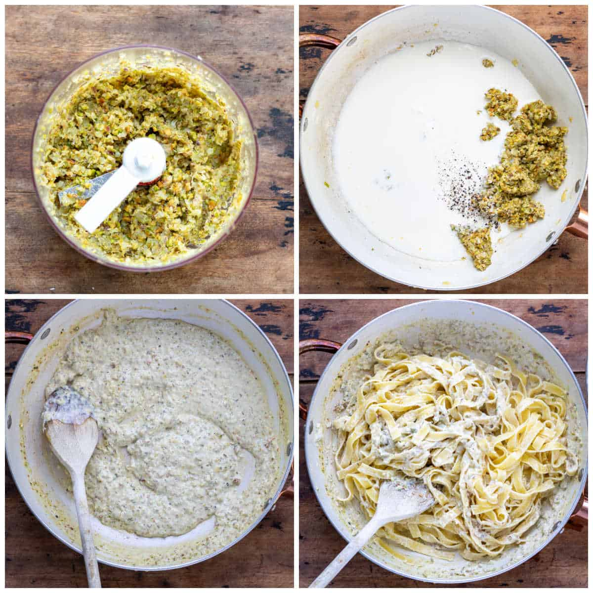Collage: 1 sauce in a food processor, 2 added to a pan with cream, 3 cooked sauce, 4 tossed with pasta.